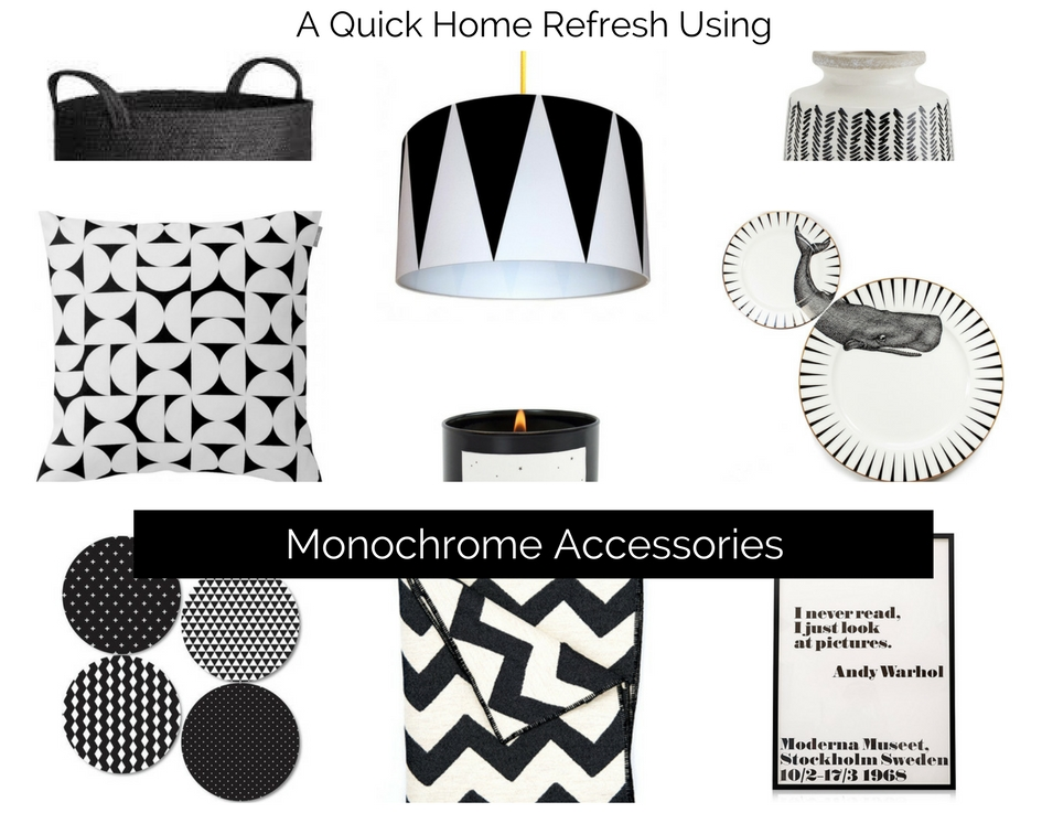 Monochrome Accessories Moodboard created by Sarah Maidment, interior design service in Berkhamsted, St. Albans, Herts